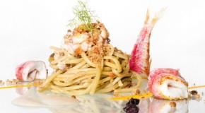 Ricette, Bucatino con triglia, salsa di acciughe e pane fritto